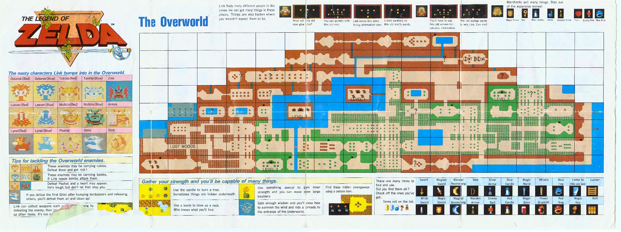 This is an image of Dashing Legend of Zelda Nes Map Labeled